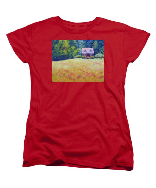Women's T-Shirt (Standard Cut) featuring the painting Homestead by Nancy Jolley
