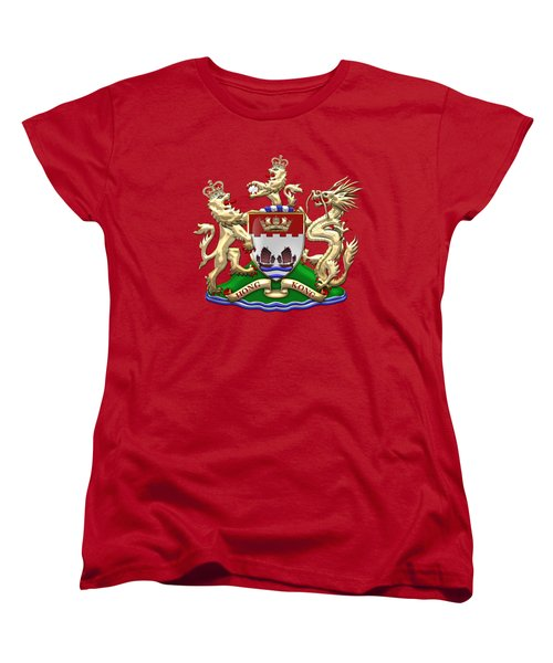 Hong Kong - 1959-1997 Coat Of Arms Over Red Leather  Women's T-Shirt (Standard Cut) by Serge Averbukh