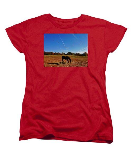 Horse Farm In The Fall Women's T-Shirt (Standard Cut) by Ed Sweeney