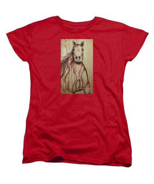 Women's T-Shirt (Standard Cut) featuring the painting Horse On Wood by Alga Washington