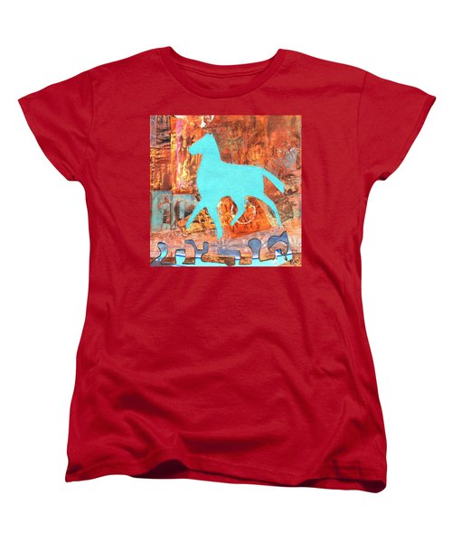 Horse Remix Women's T-Shirt (Standard Cut) by Patricia Cleasby
