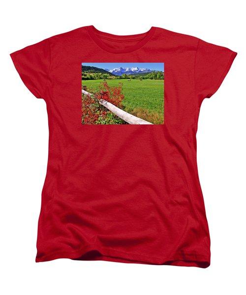 Horses In The San Juans Women's T-Shirt (Standard Cut) by Scott Mahon