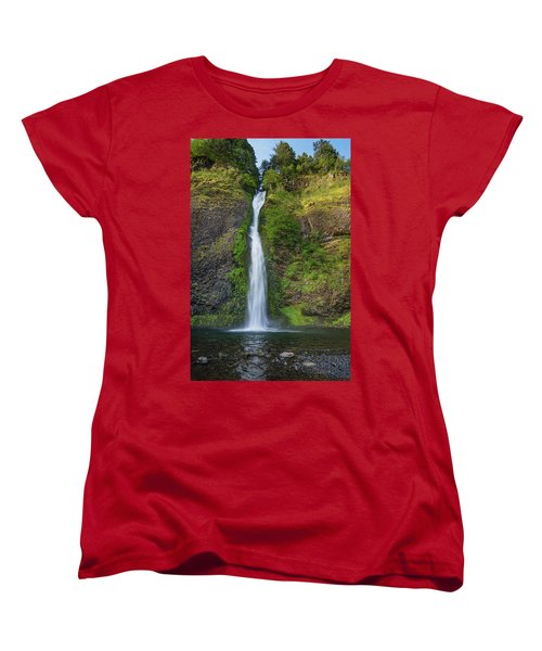 Women's T-Shirt (Standard Cut) featuring the photograph Horsetail Falls In Spring by Greg Nyquist