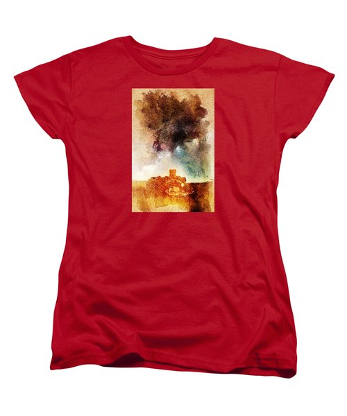 Women's T-Shirt (Standard Cut) featuring the digital art House And Night by Andrea Barbieri