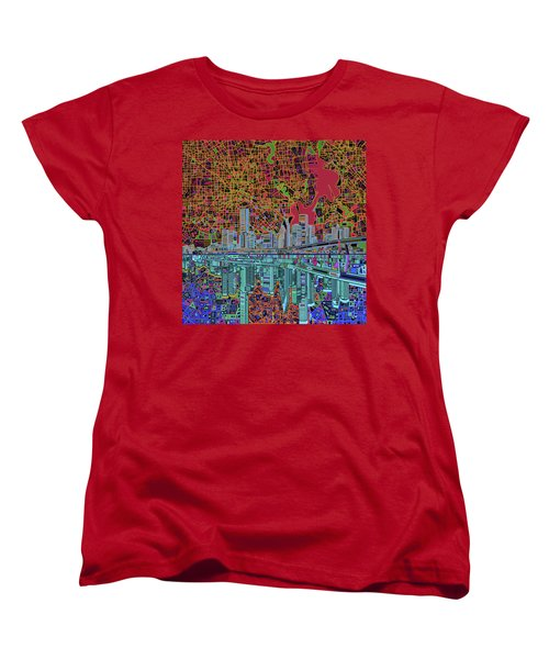 Houston Skyline Abstract 3 Women's T-Shirt (Standard Cut) by Bekim Art