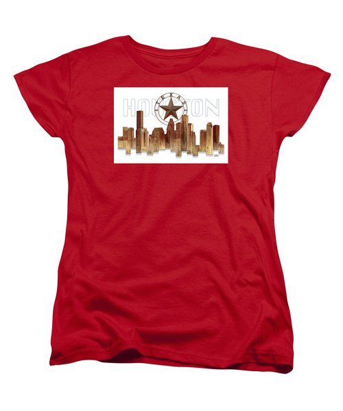 Women's T-Shirt (Standard Cut) featuring the painting Houston Texas Skyline by Doug Kreuger