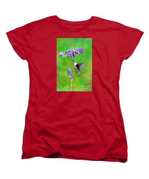 Humming Bird Visit Women's T-Shirt (Standard Cut) by Lila Fisher-Wenzel