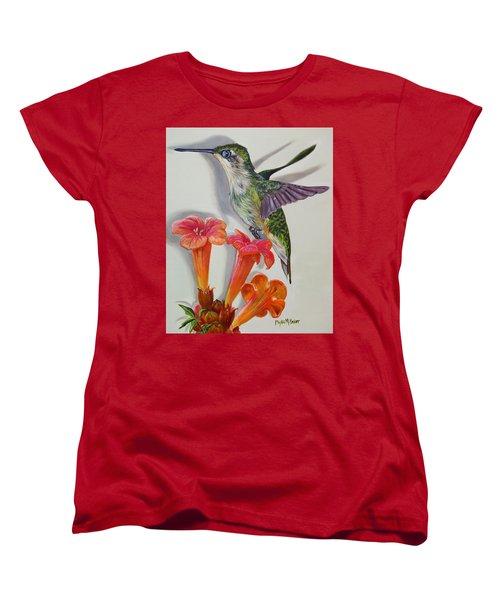 Hummingbird And A Trumpet Vine Women's T-Shirt (Standard Cut) by Phyllis Beiser