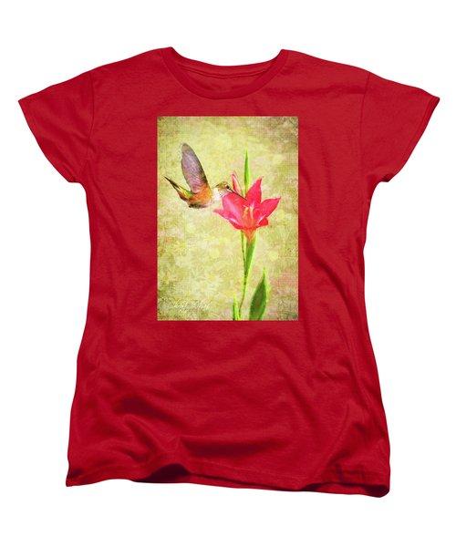 Women's T-Shirt (Standard Cut) featuring the digital art Hummingbird And Flower by Christina Lihani