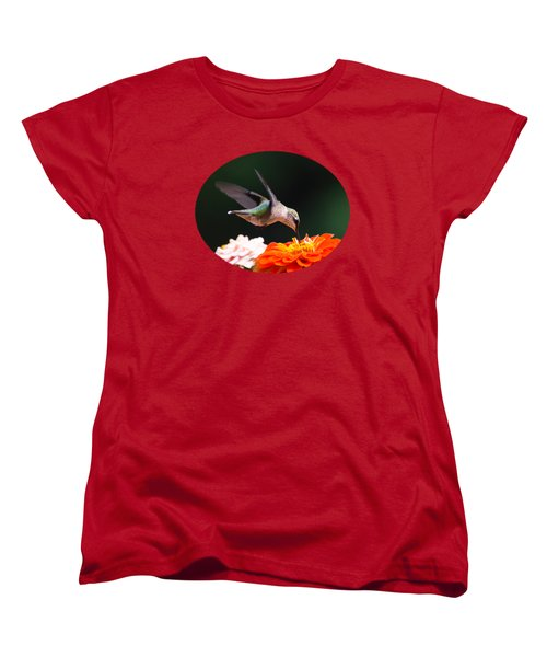 Hummingbird In Flight With Orange Zinnia Flower Women's T-Shirt (Standard Cut) by Christina Rollo