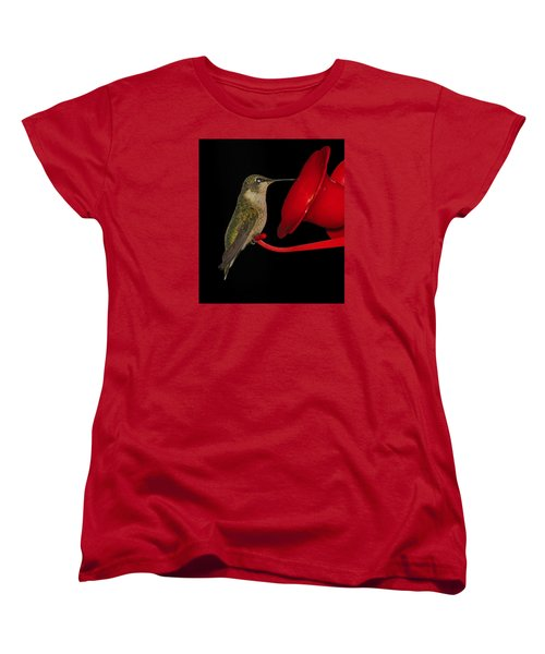 Women's T-Shirt (Standard Cut) featuring the photograph Hummingbird Nightcap 2 by Phyllis Beiser