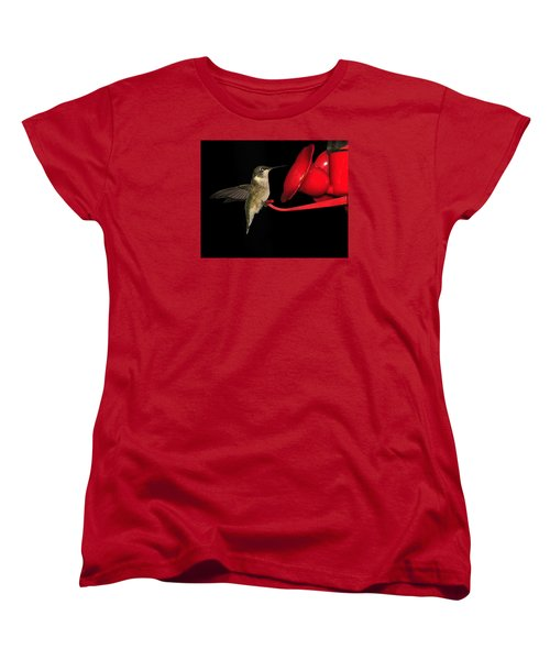 Women's T-Shirt (Standard Cut) featuring the photograph Hummingbird Nightcap by Phyllis Beiser