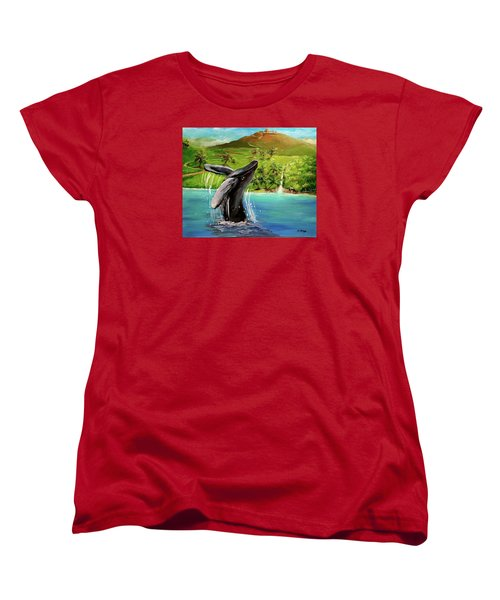 Humpback Whale Breaching At Haleakala Hawaii Women's T-Shirt (Standard Cut) by Bernadette Krupa
