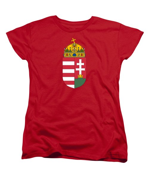 Women's T-Shirt (Standard Cut) featuring the drawing Hungary Coat Of Arms by Movie Poster Prints