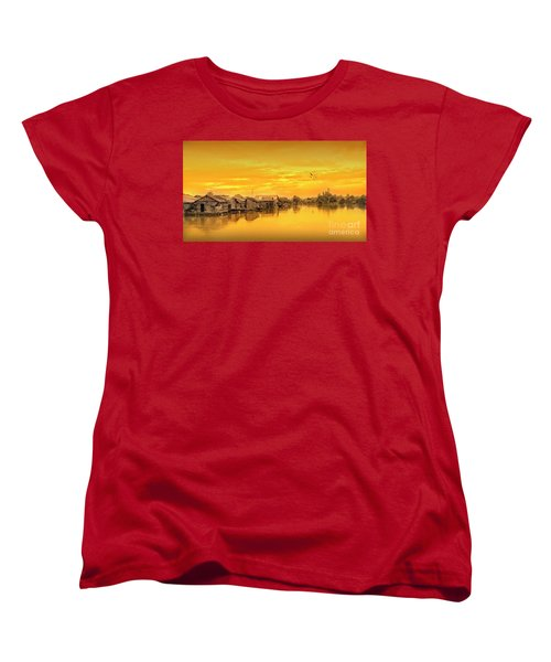 Women's T-Shirt (Standard Cut) featuring the photograph Huts Yellow by Charuhas Images