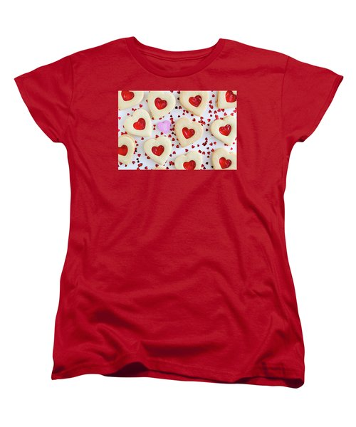 Women's T-Shirt (Standard Cut) featuring the photograph I Love You Heart Cookies by Teri Virbickis