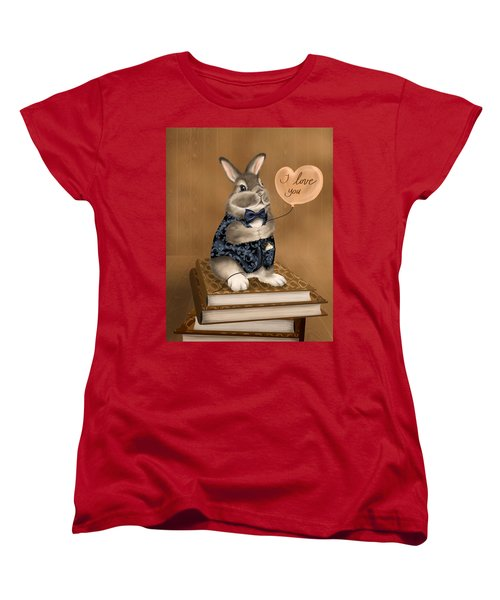 Women's T-Shirt (Standard Cut) featuring the painting I Love You by Veronica Minozzi