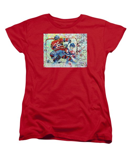 Women's T-Shirt (Standard Cut) featuring the painting Ice Hockey No1 by Walter Fahmy