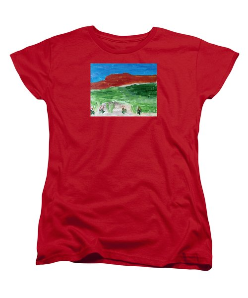 Women's T-Shirt (Standard Cut) featuring the painting Indian Paintbrush Under A Midday Sun by Brenda Pressnall