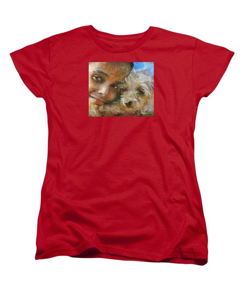 Women's T-Shirt (Standard Cut) featuring the painting Innocent Love by Dragica  Micki Fortuna