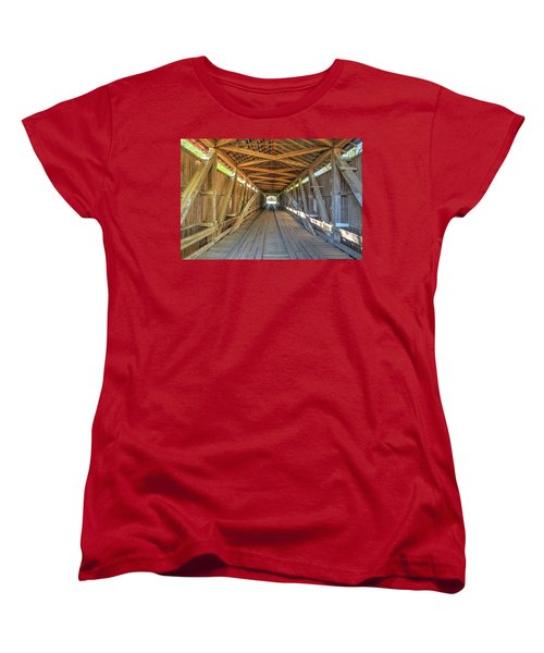Women's T-Shirt (Standard Cut) featuring the photograph Interior View - Conley's Ford Covered Bridgee by Harold Rau
