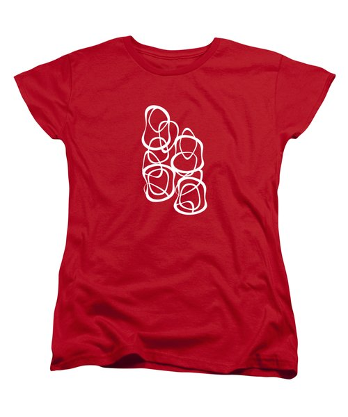 Interlocking - White On Red - Pattern Women's T-Shirt (Standard Cut) by Menega Sabidussi