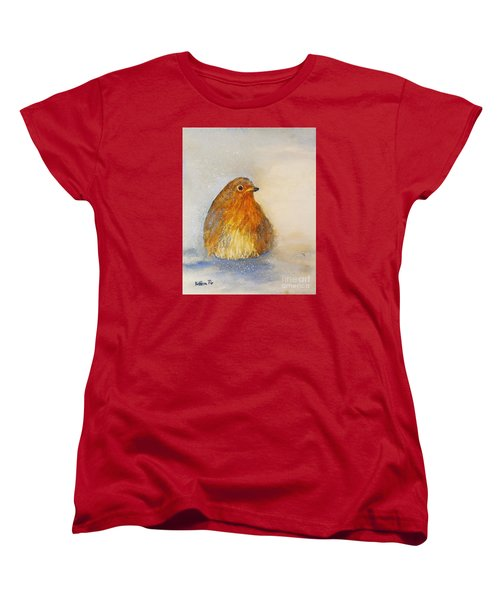Irish Robin In The Snow Women's T-Shirt (Standard Cut) by Kathleen Pio