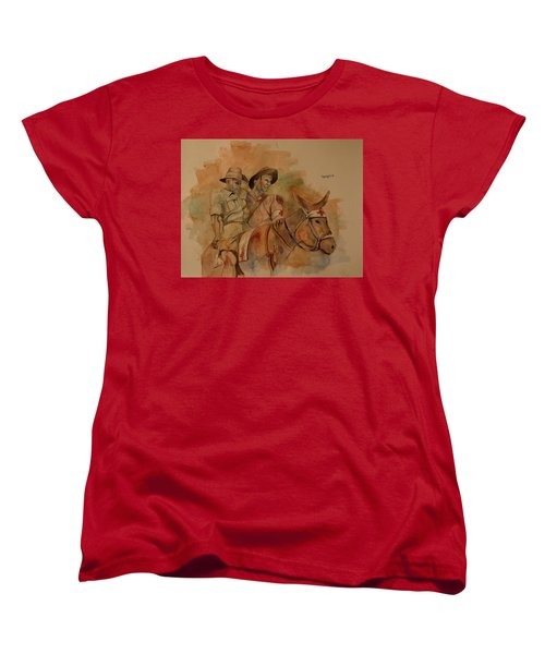Women's T-Shirt (Standard Cut) featuring the painting Jack Simpson And Duffy by Ray Agius