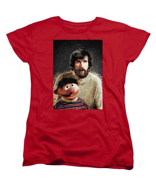 Jim Henson With Ernie Women's T-Shirt (Standard Cut) by Taylan Apukovska