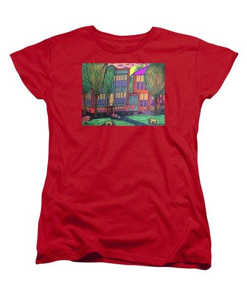 Women's T-Shirt (Standard Cut) featuring the drawing Jordan College West Drive Menominee by Jonathon Hansen