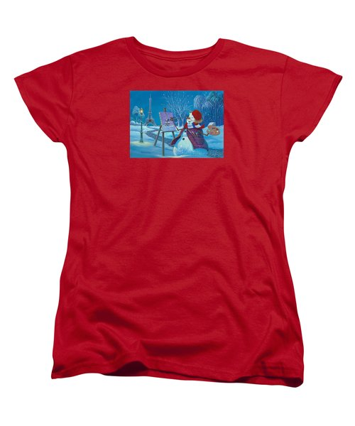 Women's T-Shirt (Standard Cut) featuring the painting Joyeux Noel by Michael Humphries