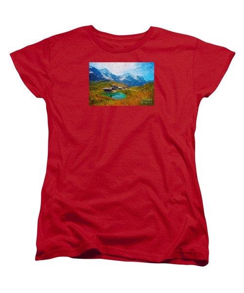 Jungfrau And Pond Women's T-Shirt (Standard Cut) by Gerhardt Isringhaus