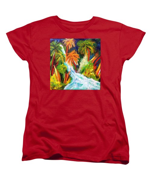 Jungle Falls Women's T-Shirt (Standard Cut) by Elizabeth Fontaine-Barr