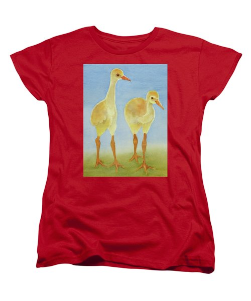 Women's T-Shirt (Standard Cut) featuring the painting Junior Birdmen by Judy Mercer