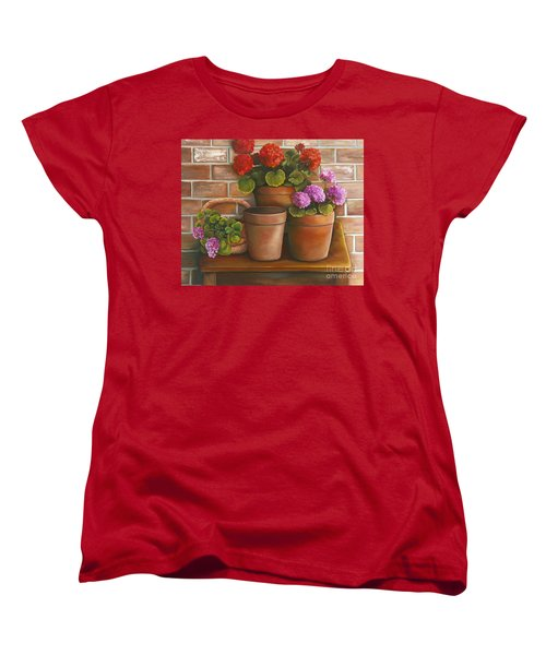 Women's T-Shirt (Standard Cut) featuring the painting Just Geraniums by Marlene Book