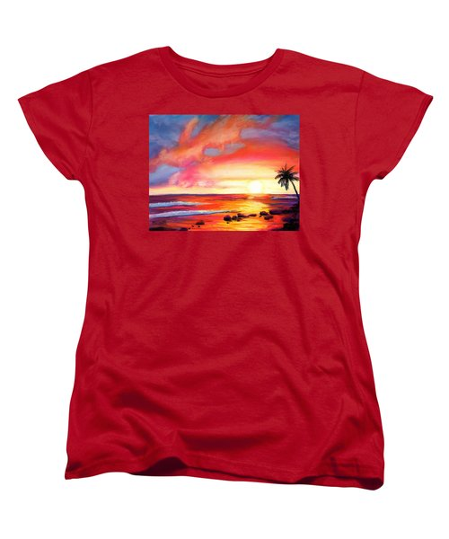 Women's T-Shirt (Standard Cut) featuring the painting Kauai West Side Sunset by Marionette Taboniar