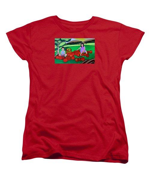Kids Playing And Picking Apples Women's T-Shirt (Standard Cut) by Lorna Maza
