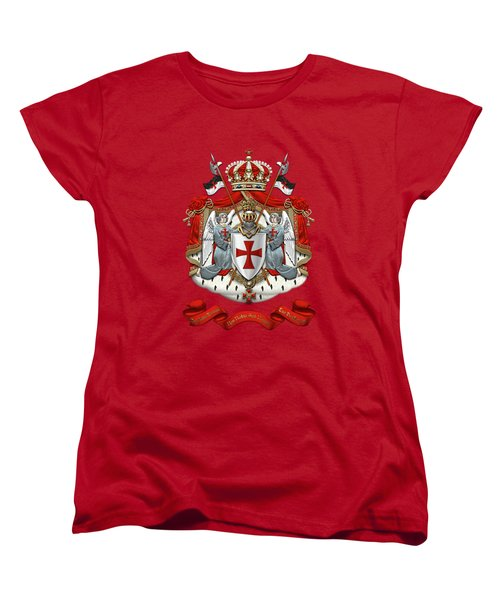 Knights Templar - Coat Of Arms Over Red Velvet Women's T-Shirt (Standard Cut) by Serge Averbukh