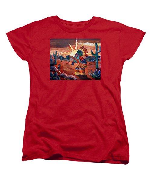 Kokopelli A Women's T-Shirt (Standard Cut) by Megan Walsh