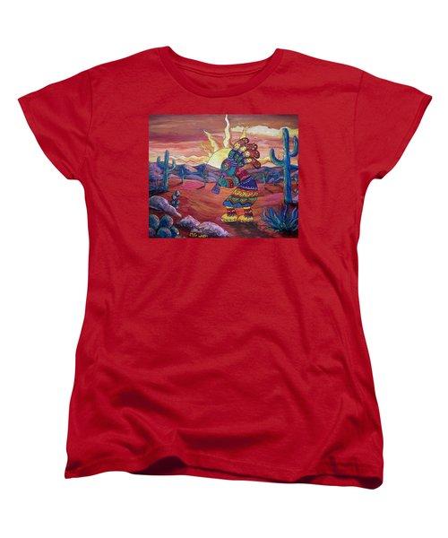 Kokopelli Sunset Women's T-Shirt (Standard Cut) by Megan Walsh