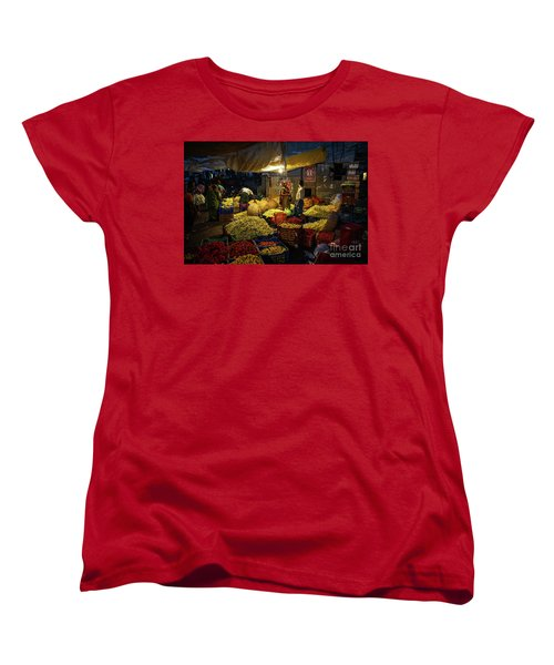 Women's T-Shirt (Standard Cut) featuring the photograph Koyambedu Chennai Flower Market Predawn by Mike Reid