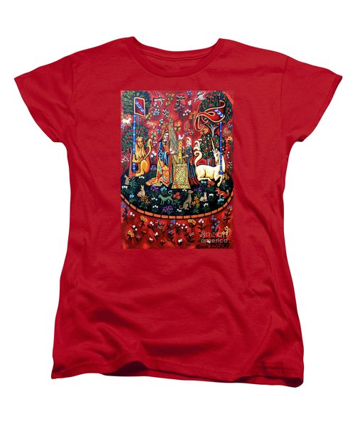 Women's T-Shirt (Standard Cut) featuring the painting Lady And The Unicorn Sound by Genevieve Esson