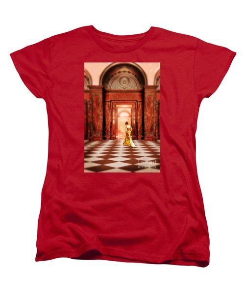 Lady In Golden Gown Walking Through Doorway Women's T-Shirt (Standard Cut) by Jill Battaglia