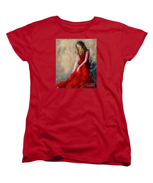 Women's T-Shirt (Standard Cut) featuring the painting Lady In Red 2 by Jennifer Beaudet