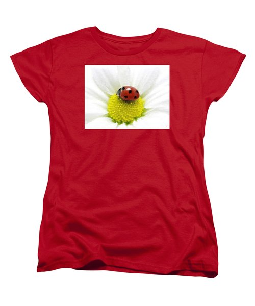 Women's T-Shirt (Standard Cut) featuring the mixed media Ladybug On White Daisy by Anthony Fishburne