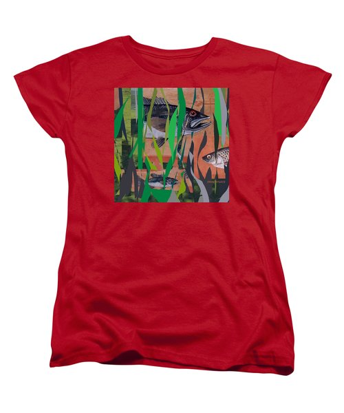Women's T-Shirt (Standard Cut) featuring the mixed media Lake Habitat by Andrew Drozdowicz