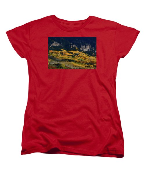 Late Afternoon Light On Aspen Groves At Silver Jack Colorado Women's T-Shirt (Standard Cut) by Jetson Nguyen