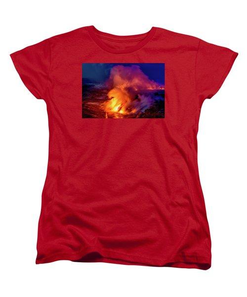 Lava And Ocean At Dawn Women's T-Shirt (Standard Cut) by Allen Biedrzycki