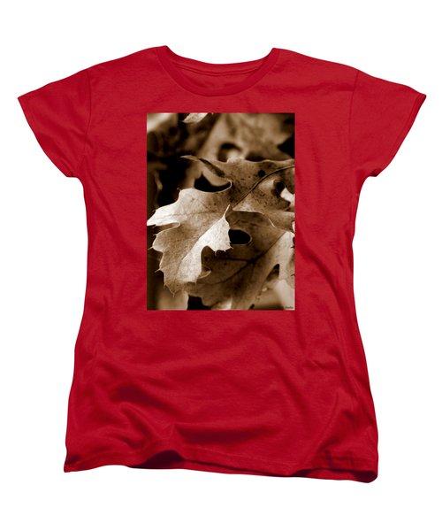 Leaf Study In Sepia IIi Women's T-Shirt (Standard Cut) by Lauren Radke