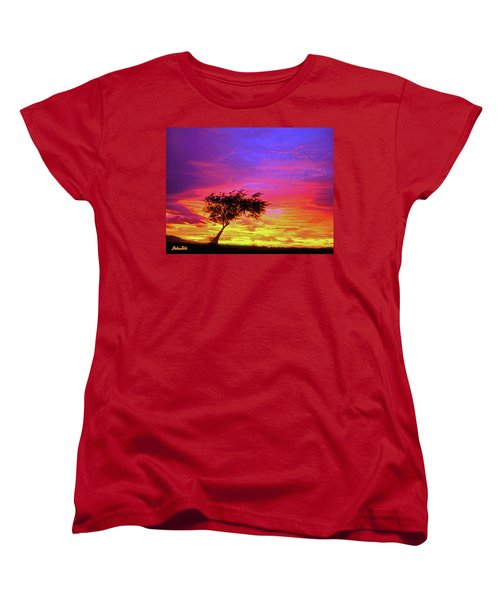 Leaning Tree At Sunset Women's T-Shirt (Standard Cut) by Bob and Nadine Johnston